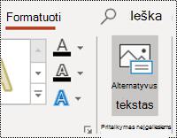 "Mygtukas AltText figūros programoje ""PowerPoint"", skirtos ""Windows"""