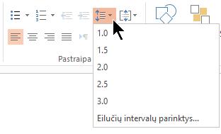 Juostelės eilučių intervalų meniu parinktys leidžia pasirinkti viengubų tarpų, dvigubų tarpų arba kitų vertikalių tarpų tarp eilučių parinktis.