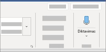 """Programoje """"Word"""" rodoma diktavimo funkcijos vartotojo sąsaja"""