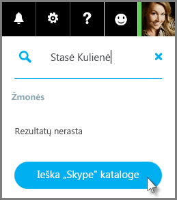 "Spustelėkite Ieška ""Skype"" kataloge"