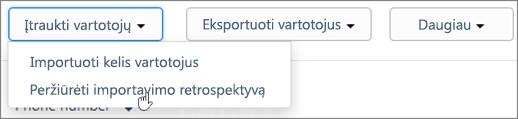 Ekrano: Kaizala importuoti retrospektyvos puslapis