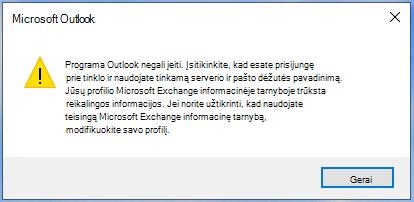 """Outlook"" negali prisiregistruoti."