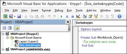 Šios darbaknygės modulio Visual Basic Editor (VBE)