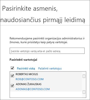 """""""Office 365"""" leidimo programos: įtraukti vartotojų"""