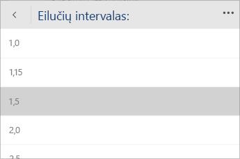 """""""Word Mobile"""" meniu, kuriame galima pasirinkti eilučių intervalo reikšmę, ekrano nuotrauka."""
