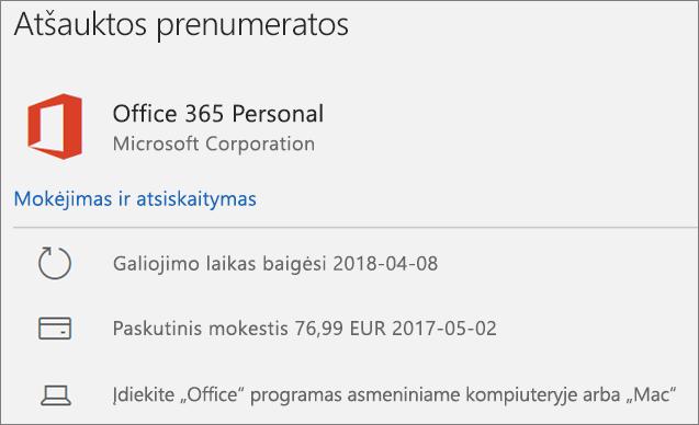 """Rodo nebegaliojančią """"Office 365"""" prenumeratą"""