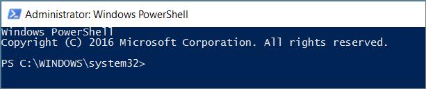 """Kaip atrodo """"PowerShell"""" pirmą kartą ją atidarius."""