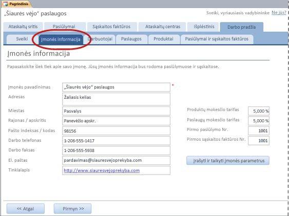 """""""Services"""" duomenų bazės šablono skirtukas Įmonės informacija"""