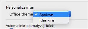 """""""Office"""" tema išplečiamąjį lauką, kai vartotojas gali pažymėti spalvota arba klasikinis tema"""