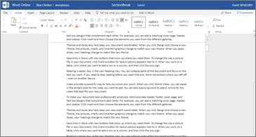 Viso puslapio teksto su puslapio lūžio rodikliai