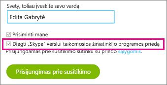 """Įsitikinkite, kad pažymėtas priedas """"Diegti """"Skype"""" verslui taikomąją žiniatinklio programą"""""""
