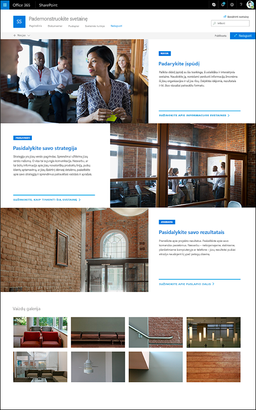 SharePoint ryšių svetainės showcase dizainą