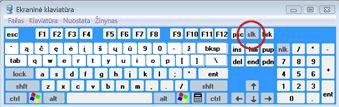 """Windows"" ekraninė klaviatūra su klavišu ""Scroll Lock"""