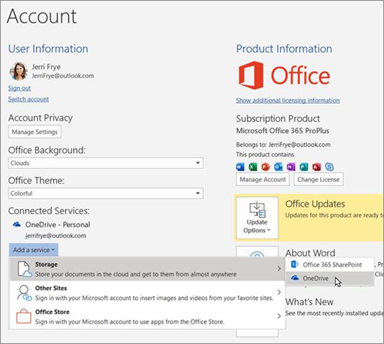 """""""Office"""" programų paskyros sritis, pabrėžiant """"OneDrive"""" saugyklos pasirinkimą, skirtą parinkčiai """"įtraukti paslaugą"""" dalyje prijungtos tarnybos"""