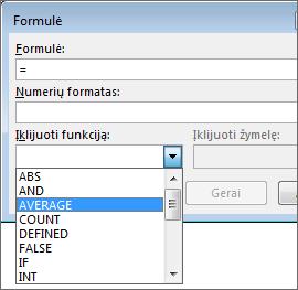Formulės įklijavimo funkcijos rodomos skirtuke Lentelės įrankiai Maketas.