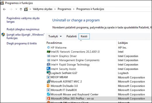 """Programų šalinimo programėlėje spustelėkite Atkurti, kad inicijuotumėte """"Microsoft"""" Office"""" atkūrimą."""