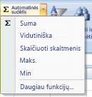 Skaitmenų skaičiavimo automatinės sudėties komandos naudojimas