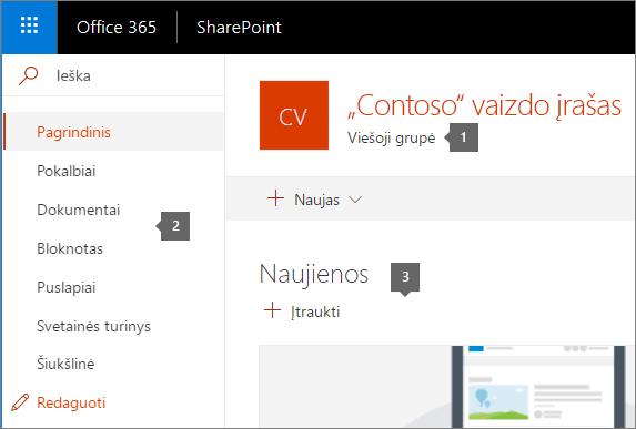 SharePoint komandos svetainės pagrindinis puslapis