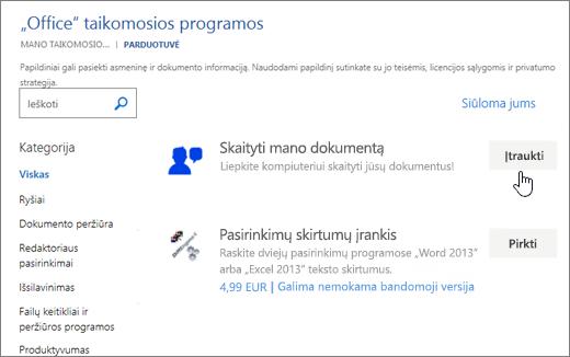 """Ekrano nuotrauka Office puslapio saugykloje, kurioje galite žymėti arba ieškos taikomosios programos """"Word"""" skirtos taikomosios programos."""