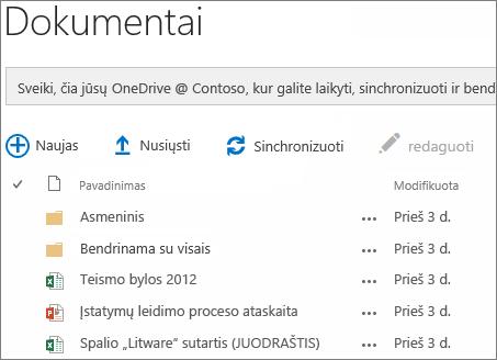 """Peržiūrėkite """"OneDrive"""" verslui dokumentų"""