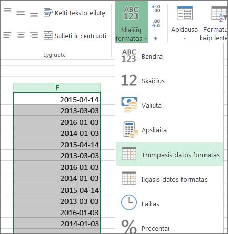 pakeiskite duomenis į trumpąjį datos formatą juostelėje