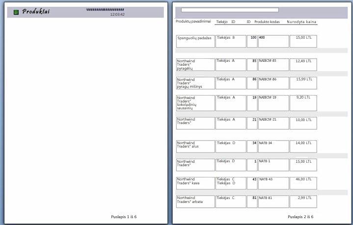 ataskaitos puslapių, kuriems taikytas puslapio lūžis, peržiūra