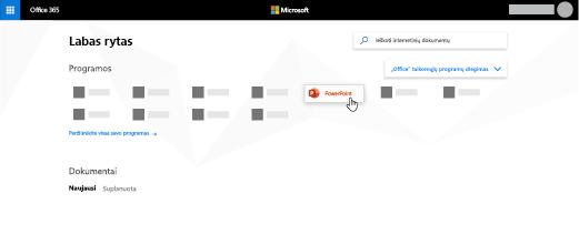 """""""Office 365"""" pagrindinis puslapis su paryškinta """"PowerPoint"""" programa"""