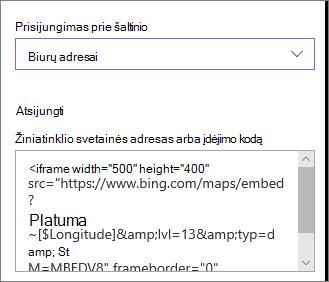 Įdėjimo kodo, kuriame rodomos vietos, pavyzdys