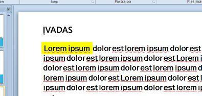 Teksto paryškinimo sumodeliuotos spalvos užpildyti teksto laukas