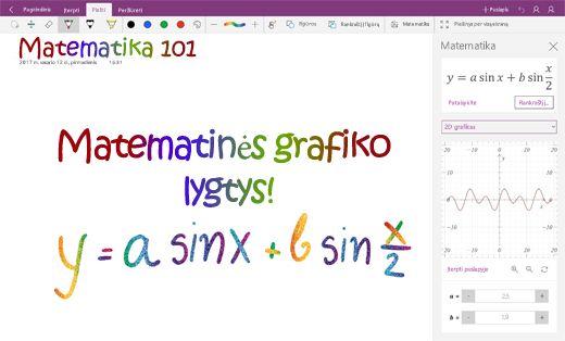 """Matematinių lygčių diagramos programoje """"OneNote"""", skirtoje """"Windows 10"""""""