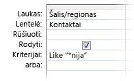 """Užklausos dizaino įrankio vaizdas, rodantis kriterijus, naudojant šiuos operatorius: """"like wildcard in a"""""""