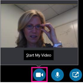 """Spustelėkite vaizdo įrašo piktogramą, kad įjungtumėte savo kamerą vaizdo pokalbiui programoje """"Skype"""" verslui."""