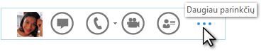 """Sparčiojo """"Lync"""" meniu, kuriame rodoma Daugiau parinkčių, ekrano nuotrauka"""
