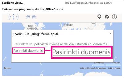 """""""Office"""" taikomajai programai """"Bing"""" žemėlapiai skirtų duomenų pasirinkimas """"Access"""" taikomojoje programoje"""