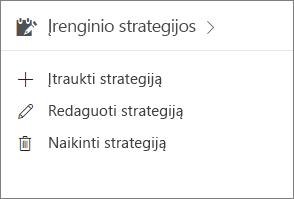 Įrenginių strategijų kortelė administravimo centre.