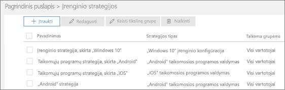 Strategijų puslapio ekrano kopija