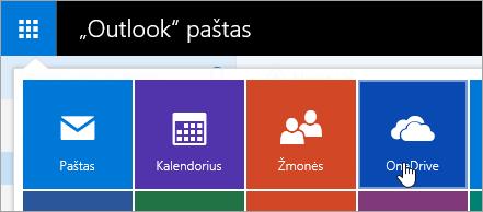 """Ekrano nuotrauka """"OneDrive"""" plytelę į taikomųjų programų vykdyklę."""