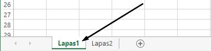 """""""Excel"""" darbalapius yra """"Excel"""" lango apačioje."""