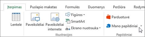 """Ekrano dalies skirtuką Įterpimas, """"Excel"""" juostelėje, kurioje žymiklis, užvestas ant mano papildiniai. Pasirinkite Mano papildiniai pasiekti priedų """"Excel""""."""