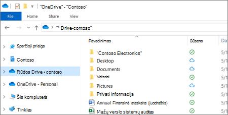 """""""OneDrive"""" verslui failų, rodomų failų naršyklėje, ekrano nuotrauka"""