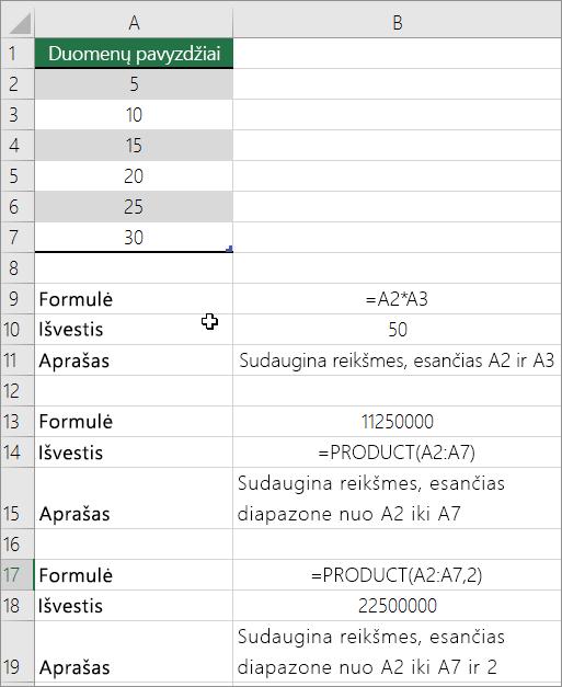 Dauginkite skaičius naudodami funkciją PRODUCT