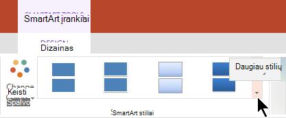"""Dalies """"SmartArt"""" įrankiai, pasirinkite rodyklę daugiau stilių, kad atidarytumėte """"SmartArt"""" stilių galerija"""