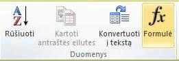 """Dalies Lentelės įrankiai skirtuko Maketas grupė Duomenys """"Word 2010"""" juostelėje"""