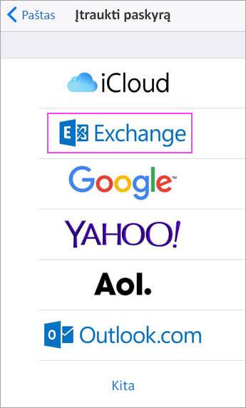 """Pasirinkite """"Exchange"""""""