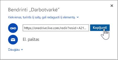 """Parinkties Gauti saitą """"OneDrive"""" bendrinimo dialogo lange ekrano nuotrauka"""