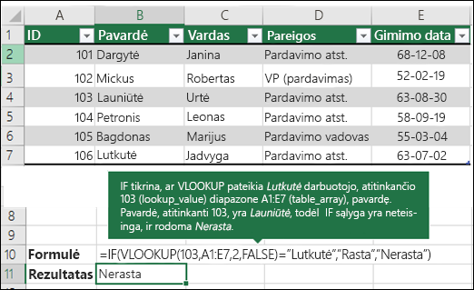 3 pavyzdys VLOOKUP