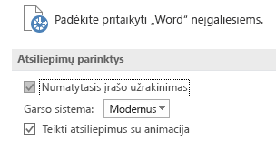 """Programos """"Word"""" pritaikymo neįgaliesiems parametrų dalis"""