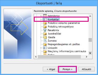 """""""Outlook"""" eksportavimo vediklis – Pasirinkti kontaktus"""