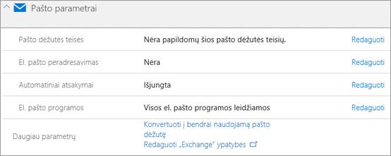 """Ekrano: """"Office 365"""" pašto parametrai"""