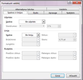 dialogo lango Valdiklių formatavimas parinktys